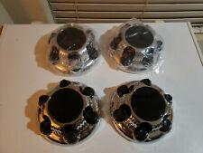 """CHEVY GMC 6 Lug 16"""" & 17"""" CHROME Black Center Caps Hub Caps Set of 4 New #BX52"""