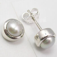 Solid Silver 2.3 Grams WHITE Round AAA PEARL Little Studs Post Earrings 0.8 CM