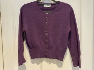 BRORA 100% Cashmere Cropped Cardigan - Size 10 - £245 Needs Mending