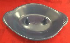 Bakato Blue Bake And Serve Casserole Oval Clay 8 in long 5 1/4 in wide 1 1/2 in
