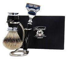 3 Piece Shaving Set (Pure Sliver Tip Hair Brush,Gillette Fusion Razor & Holder).