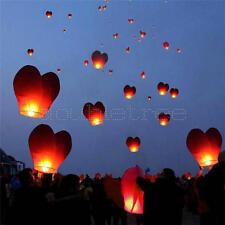 10Pcs Red Heart Chinese Sky Flying Paper Wishing Lanterns Kong Ming Lantern