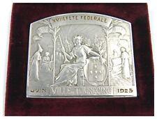 Art Deco silvered bronze medallion Ville De Tourcoing Fete Federale 1925 in case
