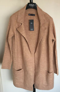 Ladies M&S Size XS Camel Super Soft Open Front Knitted Cardigan Bnwt