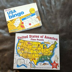 USA States Bingo Game Map Floor Puzzle Geography Educational Capitals TREND Toys