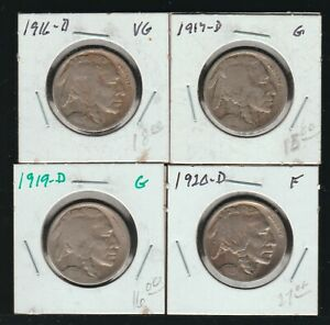 Lot of 4 Different Early D-Mint Buffalo Nickels, Good-Fine