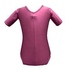 Raspberry PINK Short Sleeved Leotard, SIZE 8-10, Nylon Lycra LADIES Dance