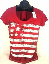 GREEN SOURCE AMERICANA AMERICAN FLAG RED T-SHIRT WOMEN'S SMALL FREE SHIPPING! E