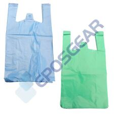 More details for large jumbo blue green strong recycled eco plastic vest shopping carrier bags