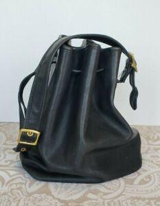 Vintage COACH Black Leather Bucket Drawstring Shoulder Bag Hobo Purse 9165