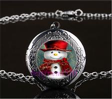 Snowman Photo Cabochon Glass Gun Black Locket Pendant Necklace