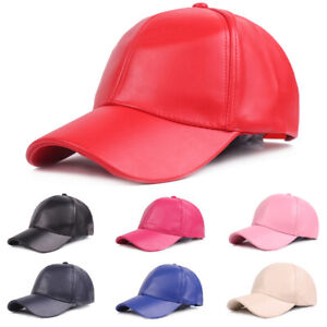 Men Women Classic Hat Solid Color Baseball Caps Adjustable PU Leather Golf Cap