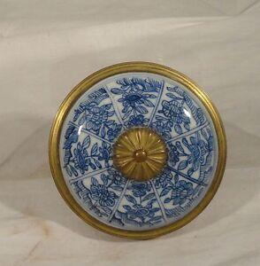 Antique Gilt Brass Bronze French Snuff Box Chinese Underglaze Blue and WHite