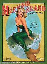 1940s Pin-Up Girl Mermaid Jamaica Rum Jamaican Advertisement Travel Poster