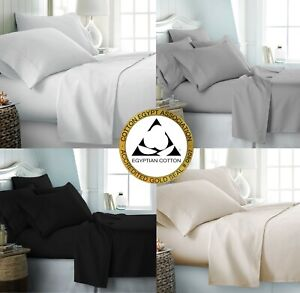 100% Egyptian Cotton 400 Thread Count Bedding Fitted Flat Sheet Duvet Quilt Set