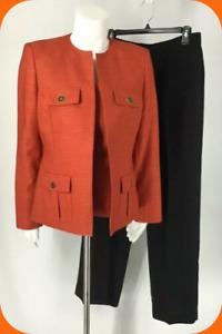 Kasper Women's Pansuits Size 6  (3Pc) Orange Gold Blazer &  Tank  Black Pants