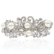 Holy White Clear Rhinestone Pearl Barrette Silver Tone Hair Clip Party Gift