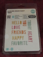 NEW We R Lifestyle Crafts ALBUMS MADE EASY Die TEXT 03812-2 8 Cutting Dies