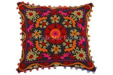 Suzani Pillow Cover Indian Boho Throw Cushion Cover Embroidery Pom Pom Shams