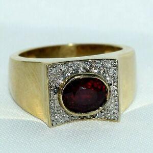Vintage 10k Yellow Gold Garnet & Diamond Ring 3.05 ct tw ~ size 10 ~ 10.33 grams