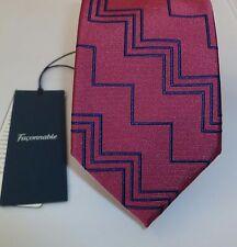 $115 Pink Faconnable Zigzag Silk Necktie Rose Tie NWT