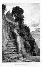 Stampa antica CAPRI Antica Scalinata e Vesuvio golfo di Napoli 1880 Old print