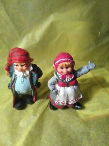 Mr & Mrs Claus Figurines  Signed Polla (?)