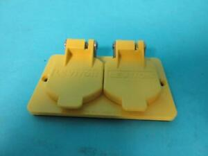 LOT OF 2 NEW LEVITON 000-3056-Y  YELLOW 1 GANG DUPLEX FLIP LIDS FOR RUBBER BOX