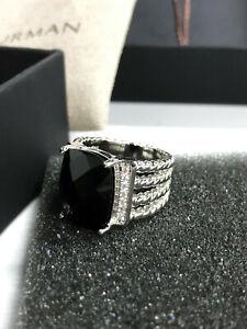 David Yurman Sterling Silver Wheaton Ring with Black Onyx and Diamonds size 7
