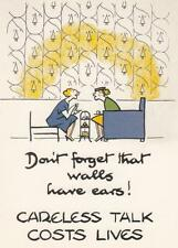 WALLS HAVE EARS! CARELESS TALK COST LIVES POSTCARD