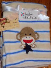BLANKET BABY STARTER'S SOCK MONKEY FACE W/ NAVY STAR CREAM BLUE STRIPES SOFT NEW