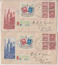 Stamps ANPEX Adelaide exhibition 1950 Cinderella labels pair covers registered