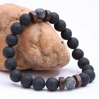 New Men Women Natural Stone 8mm Lava Rock Bracelet Elastic Yoga Beads Bracelet