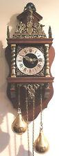 Dutch Zaandam Decorative Mahogany Case 2 Weights Driven Striking Wall Clock GWO