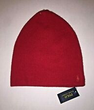 Polo Ralph Lauren Red Cashmere Beanie Hat Red Pony