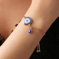 Women Elegant Bracelet Jewelry Crystal Blue Evil Eye Golden Chain Charm Bracelet