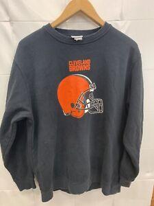 NFL Cleveland Browns Football Crewneck Sweatshirt Mens Size L 23x29 Majestic