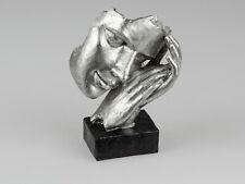 720665 Büste Schlaf schwarz-silber auf Sockel 17x23cm exklusive Deko-Skulptur