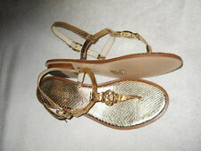 Michael Kors Sondra Gold Metallic Leather MK Charm Strap Thong Sandal 8 M NIB