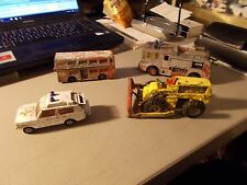 LOT OF 4 VINTAGE DIECAST 2 DINKY TOYS 1 CORGI & KING SIZE MATCHBOX ROUGH SHAPE