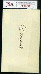 Joe Medwick Jsa Coa Signed 3x5 Index Card Autograph