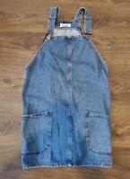 Womens New Look Denim pinafore Dress Size 10 UK pockets