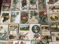 ~Lot of 25~ Pretty ~Flowers & Scenes~Vintage~ Floral Greetings Postcards-a531