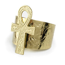 """African jewelry Ankh Cuff:3"""" Ankh pendant on Gold Gold US Seller New"""