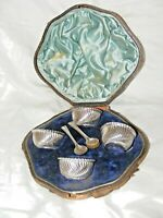 ANTIQUE VICTORIAN 1887 STERLING SILVER SALTS CELLARS SPOONS ORIG BOX JAMES DIXON