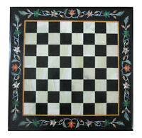 """18"""" Black Marble Coffee Chess Table Top Marquetry Mosaic Inlay Arts Home Decor"""