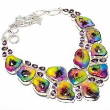 "Rainbow Solar Quartz Druzy, Amethyst Gemstone Jewelry Necklace 18"" N12131"
