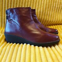 Pavers Ladies Berry Leather Wedge Ankle Boots UK 7 EU40
