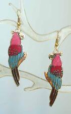 Elegant Genuine Cloisonne Enamel Parrot Pierced Earrings 1970s vintage