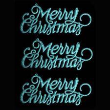 """Decoración de Navidad de 3 Paquete de brillo """"Feliz Navidad"""" signos-Azul hielo"""